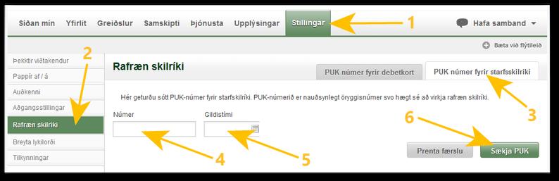 Sækja PUK númer sparisjóðir